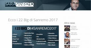 Sanremo 2017: i nomi degli artisti in gara